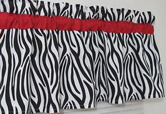 Zebra print window valance window valances black by for Animal print window treatments