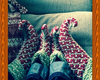Childrens Hand Knitted Elf Slippers