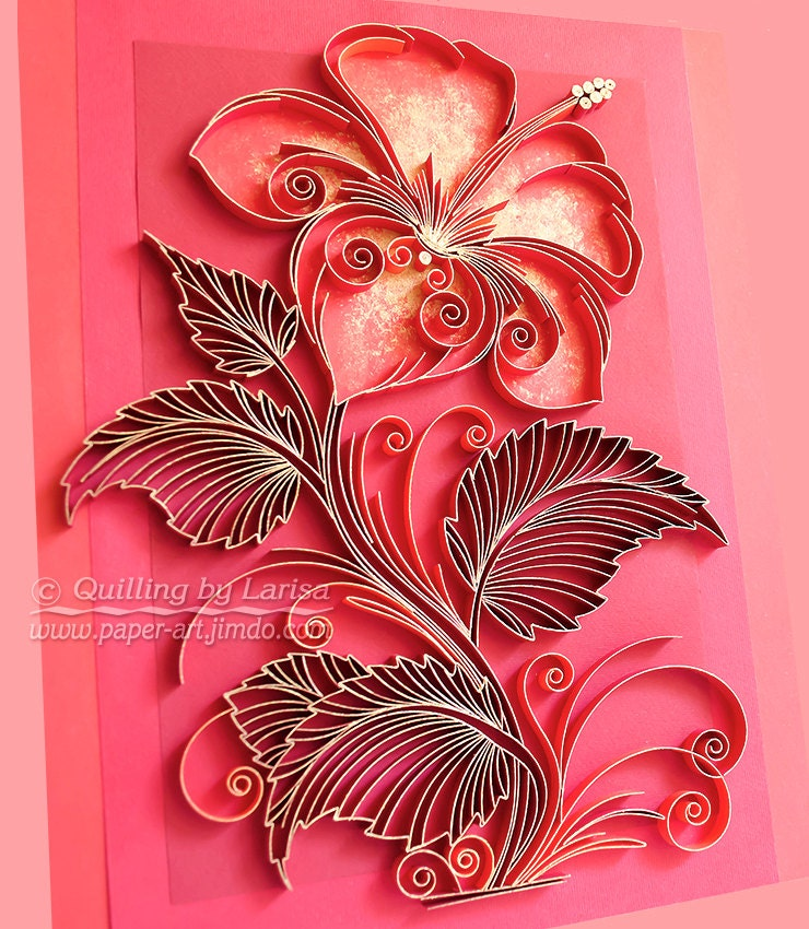 Original paper quilling wall art the scarlet flower for Decoration quilling