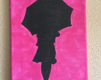 8x10 Acrylic Girl With Umbrella Silhouette on Canvas Pink