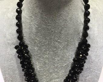 Black facet agate knit necklace