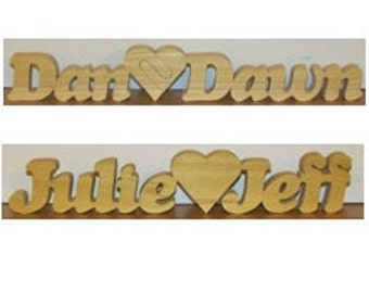 Two Names One Heart - Personalized Plaque Hand Cut - Perfect Gift For Weddings