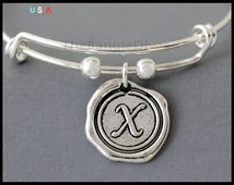 INITIAL - Personalized and Expandable Bangle Bracelet Wax Seal Style Letter - ADD a Charm or Birthstone - By Renee & Alex USA - # 017