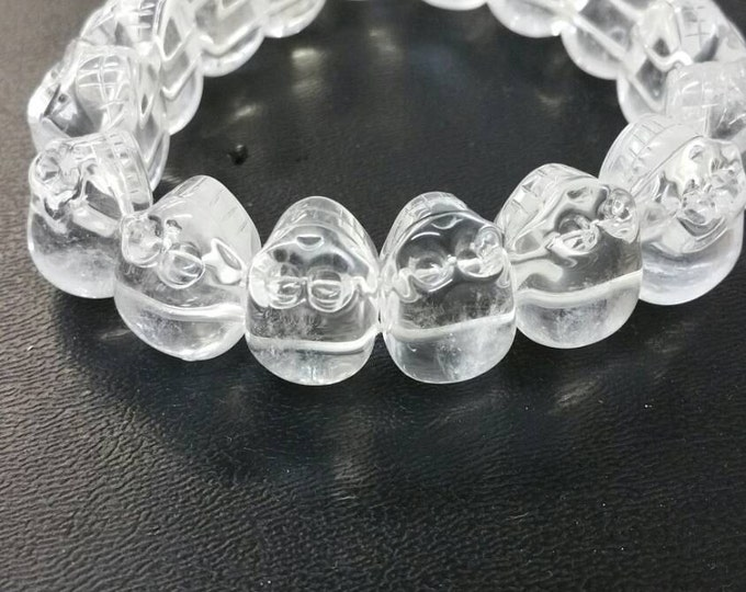 Quartz Skull Bracelet- High Grade Quartz from Brazil- Amazing Clarity- Healing Crystal \ Healing Stone \ Quartz Crystal \ Crystal Skull