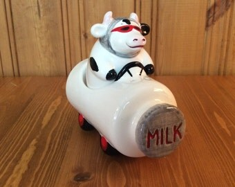 Cow in Milk Bottle Car - Vintage Salt and Pepper Shakers