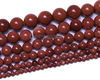 Natural Gold Sandstone Beads, Round Goldstone Beads, 2 4 6 8 10 12 14 16mm Golden Stone Strands, Gemstone DIY Beads for Jewelry Making