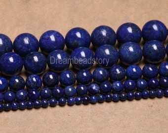 Lapis Lazuli Blue Stones Beads Healing Gemstone 6 8 10 12 14mm Loose Beads for Jewelry Making (B62)