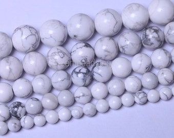 Natural White Howlite Turquoise Stone Beads Round 6 8 10 12mm DIY Beads Wholesale (B66)