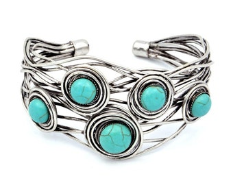 Blue Hand Wire Wrapped Antique Silver Metal Iron Bracelet Jewelry (RSN4514GR-BR)