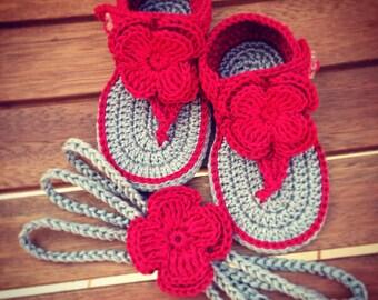 Crochet baby sandals, baby girl flip flops, handmade