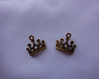 13mm Antique Bronze Crown Charms (set of 2)