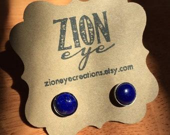 Lapis Lazuli Stud Earrings 8mm Surgical Steel Sterling Silver