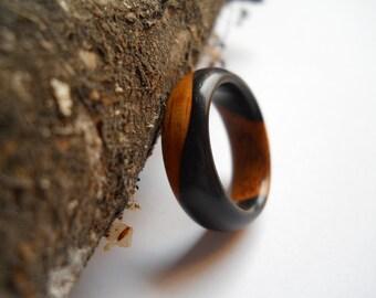 Solid African Blackwood ring, custom, handmade