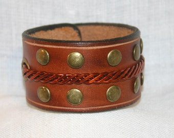 Leather - Copper - Brass Wristband