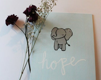 """Hope - An adorable little elephant dreaming on a baby blue background. 8""""x10"""" Acrylic"""