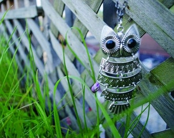 Large Silver Plated Owl Necklace