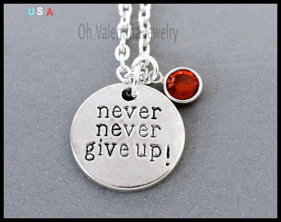 never never give up swarovski chain necklace personalized