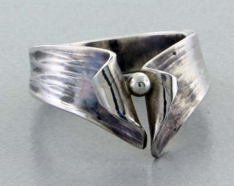 Sterling & Fine Silver Hand Forged Ring - Size 5 3/4