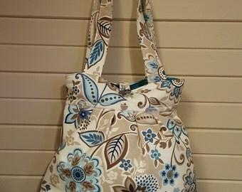 New Quality Handmade Purse!! Beautiful khaki and aqua floral pattern!