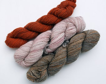 2-Ply Handspun Luxury Yarn Trio (450 yards/410 meters) - Desert Oranges
