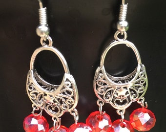 Red beads with silver