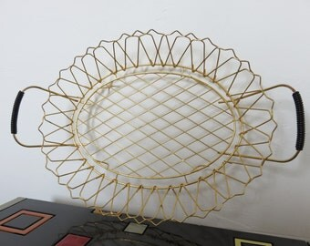 old basket fruit gold metal and scoubidou black mid century typical 1950 1960 50