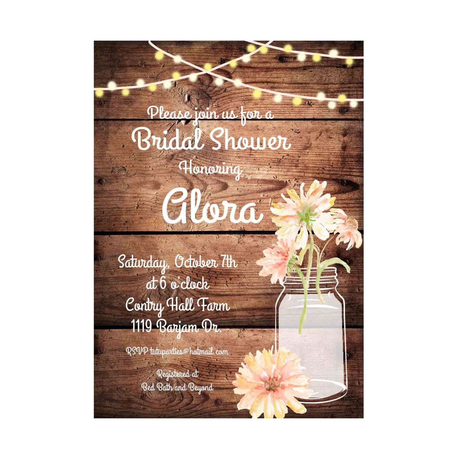 Rustic Daisy Wedding Invitations: Rustic Bridal Shower Invitation Printable Daisies Birthday