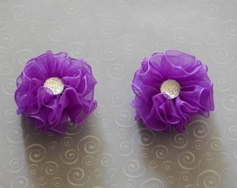 Purple Baby girl Hair Clips, sheer flower hair clips, flower hair clips, baby hair clips, Purple, hair clips