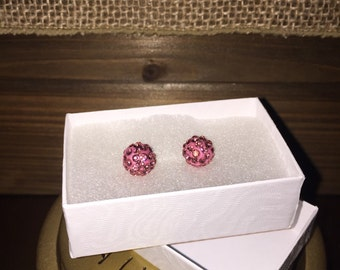 8 MM Pink crystal stud earrings