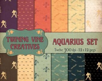 Zodiac Aquarius Digital Papers, Vintage Paper, Commercial Use, Zodiac Paper, Aquarius Paper, Aquarius Pattern, Astrology Paper, Horoscope