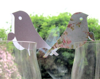 Bird place cards setting for wine Glasses Pack of 20