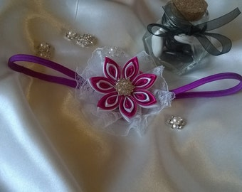 head band white and fuschia