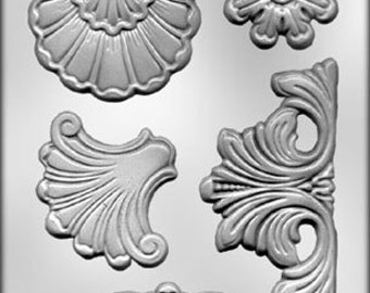 Baroque Molds - Set of 4 Molds for Fondant - Gum Paste - Clay