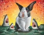 Mr. Whiskers- Killer Bunny Rabbit vs Sharks -Acrylic Painting Art Print  -Animal Art- Surreal Fantasy Space Oddity Monster Creature