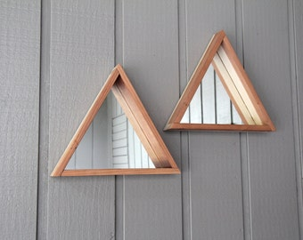 Wooden Triangle Mirror - FREE SHIPPING