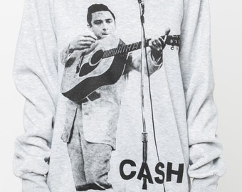 Johnny Cash shirt sweater women sweatshirt folk music men shirt tshirt jumper long sleeve tshirt tee shirt grey