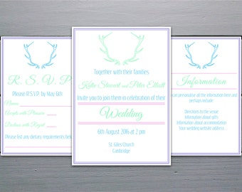 Digital Personalised Pastel Coloured Antlers Wedding Invitation Set: Invitation with RSVP and Information Cards