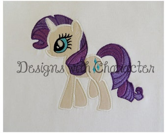 """Rare pony applique (fill stitch mane and tail) machine embroidery design- 3 sizes 4x4"""", 5x7"""", 6x10&quo"""