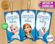Frozen Tags - EDITABLE TEXT - Customized Party Gifts Favors - Birthday Printables Disney Frozen Label - Olaf Elsa Anna - Instant Download