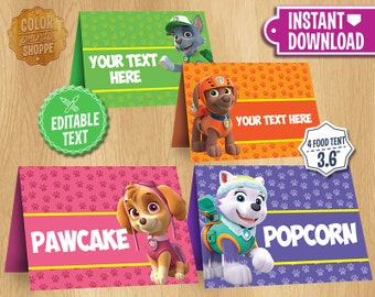 Paw Patrol Table Tents - INSTANT DOWNLOAD Customizable Food Tent Printable Cards Favors - Skye Everest Rocky Zuma - Editable Text
