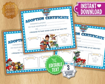 Paw Patrol Adoption Certificate - Instant Download - Custom Printable Dog Puppy Pet Diploma adoptions Puppies - EDITABLE TEXT