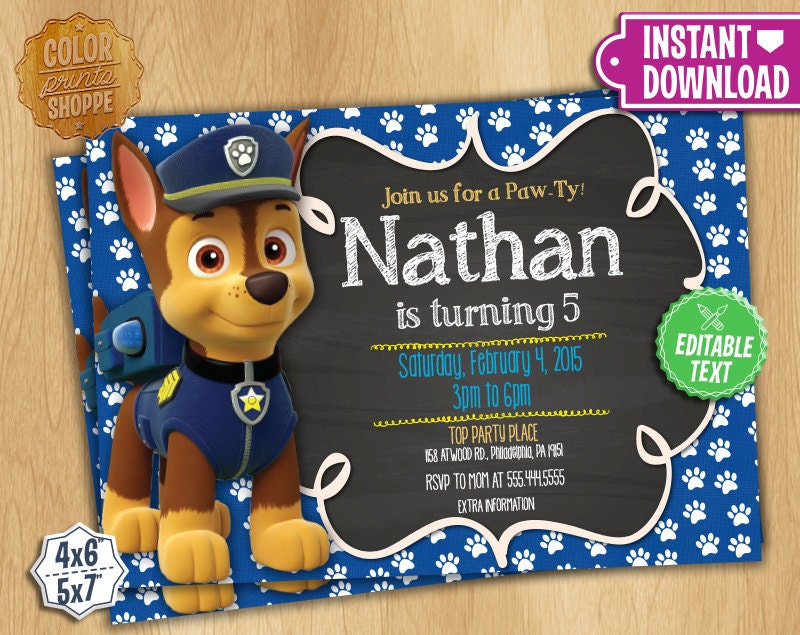Paw patrol invitation editable text chase customizable paw for Paw patrol invitation template free