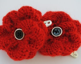 Knitted Poppy Hair Clip
