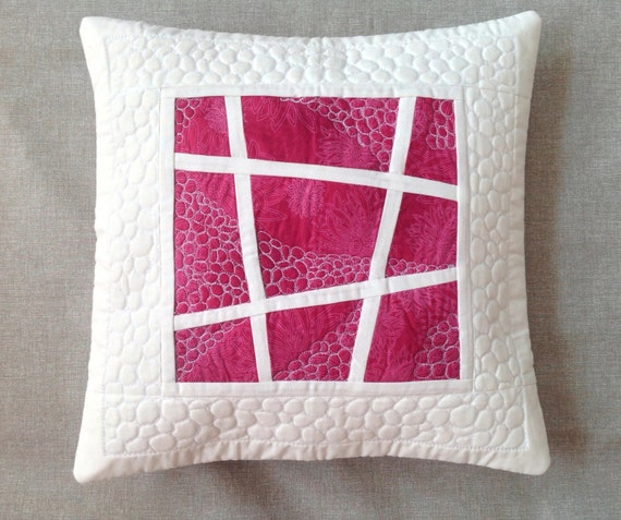Modern Quilted Pillow Covers : Pink quilted pillow decorative pillow modern pillow cover