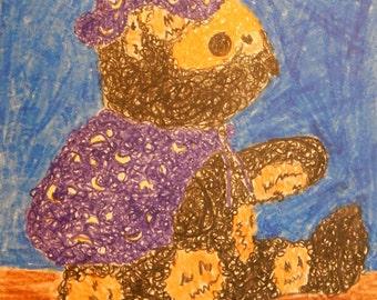 Trick or Treat  Teddy Bear Crayon drawing 18 x 12