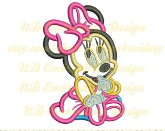 Minnie mouse applique design, Sitting Disney Machine Embroidery  Minnie hairbow, ms-042