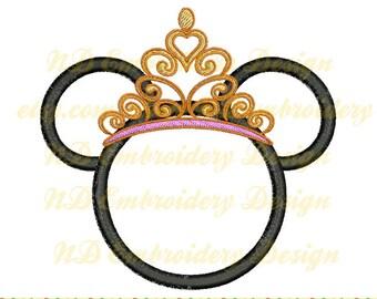 Princess Minnie Machine Embroidery Applique Design, Tiara crown, ms-049