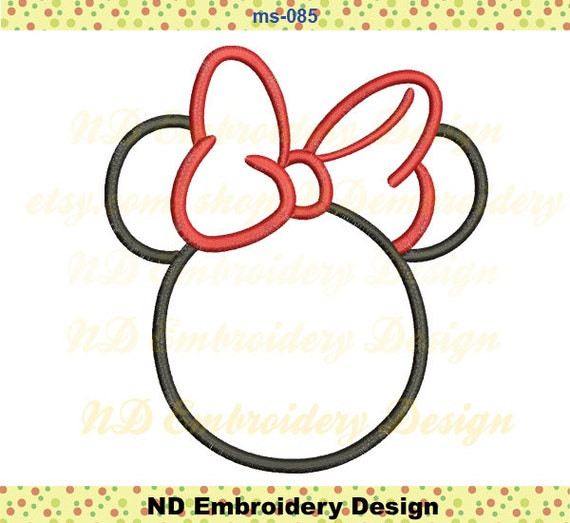 minnie mouse noeud papillon applique minnie head silhouette. Black Bedroom Furniture Sets. Home Design Ideas