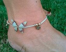 ANKLET BRACELET Mod. ANA  6 colors, macrame butterfly, macrame jewelry, macrame anklet , boho anklet, tribal, gipsy jewelry, brass anklet