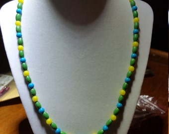 Yellow, blue and green necklace